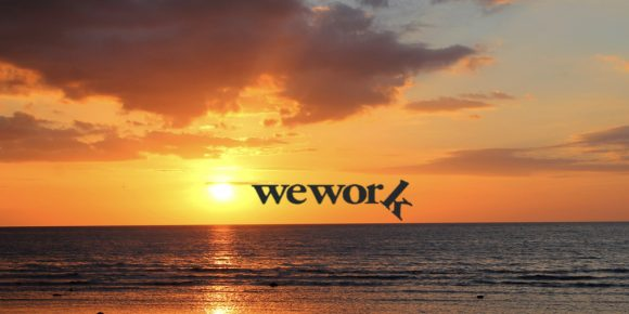We work logo and sunset