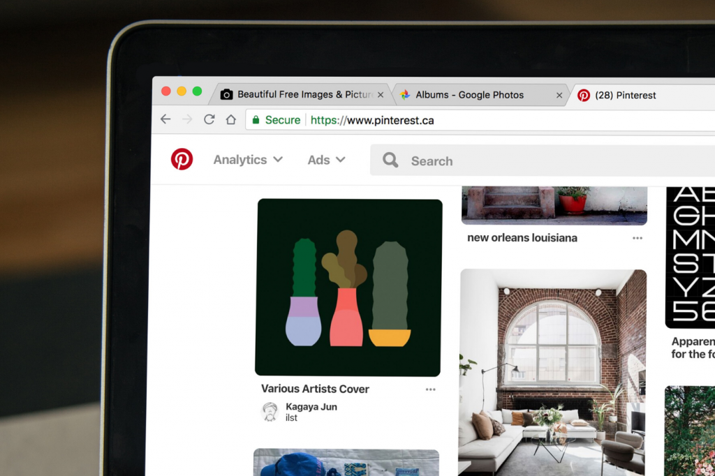 Pinterest page on a laptop screen